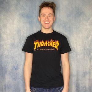 Thrasher Skating Shirt Classic Flame Font